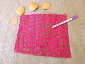 riportare le varie dimensioni dei petalisu stoffa