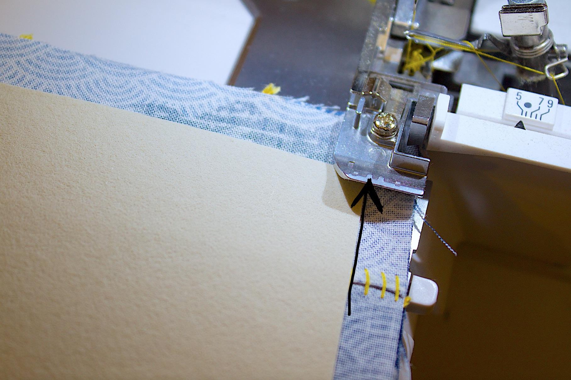 usare la tacca di riferimento per una cucitura a filo