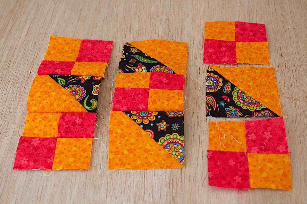 cucire ottenendo 3 nuove strisce